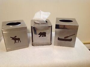 Awesome Three Moose,Bear,Canoe & PaddleTissue Holders