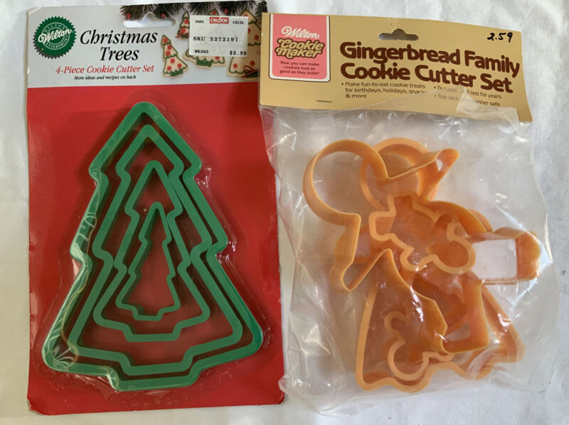 New Vintage Wilton Cookie Cutters 8 Pc Gingerbread Family & Christmas Trees NIP