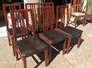 Set of 6 timber with padded seat  dining  chairs Redcliffe Redcliffe Area Preview
