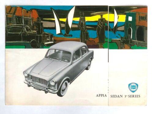 Vintage circa 1960 Lancia Appia Sedan 3rd Series Original Sales Brochure Specs