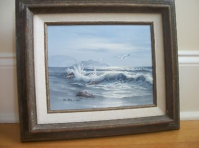 . ORIGINAL OIL ON CANVAS PAINTING  by D.BRUSEL Seascape  ocean  signed framed
