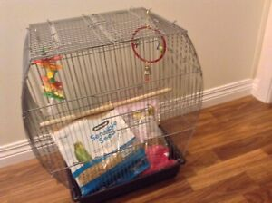 Bird cage with food, toys and millet