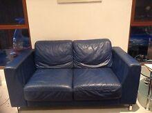 Leather lounge blue Croydon Park Canterbury Area Preview