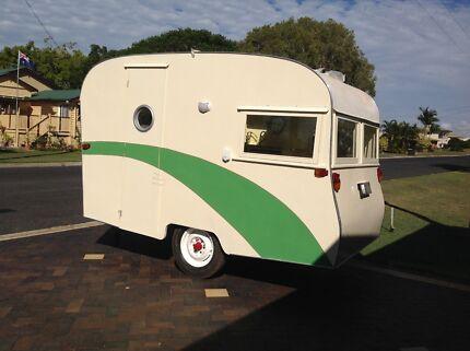Vintage carapark caravan