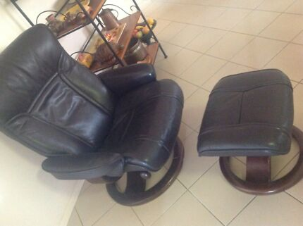 Moran  leather chair and footstool