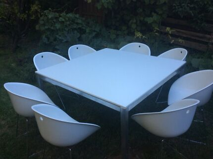 8 Seat White Indoor Outdoor Dining Table