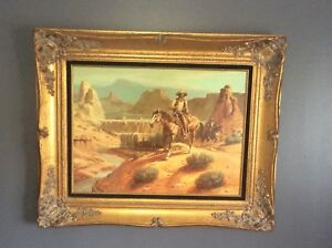 LARGE AMERICAN WESTERN OIL PAINTING WES CAMPBELL BEAUTIFUL