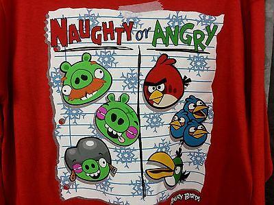 Boy shirt M 8, Christmas ANGRY BIRD Red shirt, Naughty or Angry, long sleeve