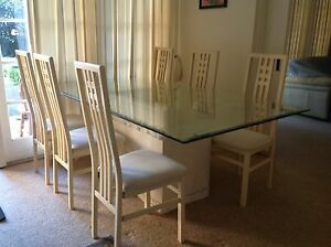 Glass And Stone Dining Table Plus (6) Dining Chairs Hornsby Hornsby Area Preview