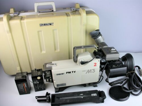 Sony DXC-M3 Studio Tube Video Camera w/ Lens, Case, Viewfinder, Battery, Cable