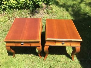 """PAIR OF LARGE END TABLES MADE BY """"SKLAR PEPPLER"""""""
