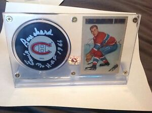 Emile Bouchard Autographed Hockey Puck ( Montreal Canadians )