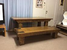 Beautiful heavy duty large dining table with matching bench seat Arundel Gold Coast City Preview
