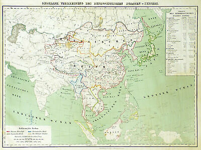 Religionskarte Gift Buddhism Original Lithography Map Flemming 1861