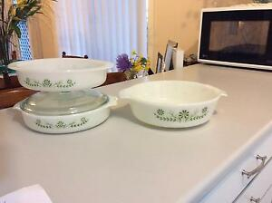 GLASBAKE  RETRO MILK GLASS CASSEROLES x  3 Shellharbour Shellharbour Area Preview