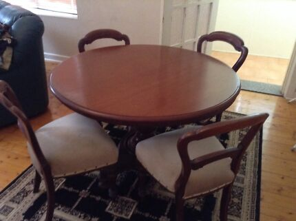 Cedar Table and 4  Mahogany Chairs Bexley Rockdale Area Preview