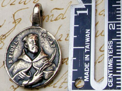 Antique 18th Century Medal FIRST SAINTED Capuchin Felix of Cantalice & S Fidelis