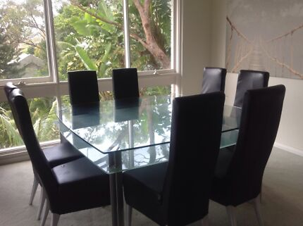 SQUARE GLASS DINING TABLE 8 seater (150cms x 150 cms) with chairs Dolans Bay Sutherland Area Preview