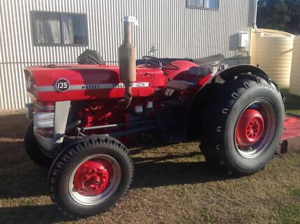 MF 135 diesel tractor and slasher 3 cyl Perkins great condition