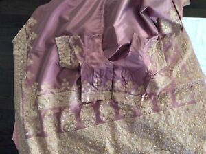 Saree lilac colour with matching ready made blouse