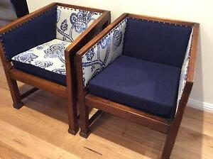 2 X DECO VINTAGE TUB TIMBER ARMCHAIRS W/ NEW UPHOLSTERY Seaforth Manly Area Preview