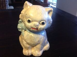 Cute Hubley Cast Iron seated Kitten Coin Bank - remade
