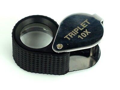 Loupe Triplet 10 x (Power) Black Chrome Jewelers Loupe Lens Magnifier Best Deal (Best 10x Jewelers Loupe)