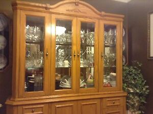 Solid Oak Buffet and Hutch For Sale