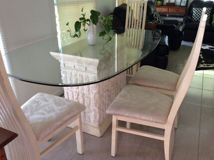 Glass Top Dining Table 1800x1100x76 Fossil Stone Base 6 Chairs
