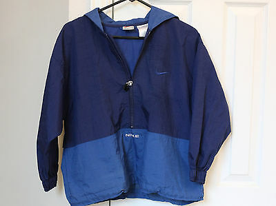 Nike Blue 1/2 zip hooded Vented Jacket Windbreaker nylon Boys Size M 10 - 12