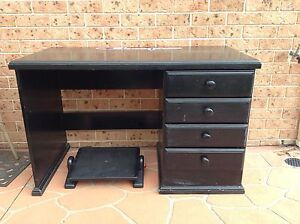 Solid wood study computer desk with draws Blairmount Campbelltown Area Preview