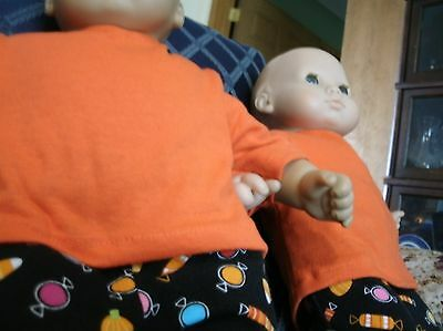 bitty baby twins Halloween print pants and shirts with black socks](Baby Twins Halloween)