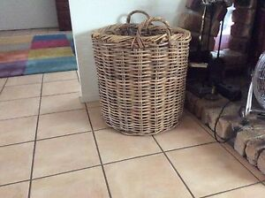 Cane wood basket  and full of full of firewood Daisy Hill Logan Area Preview