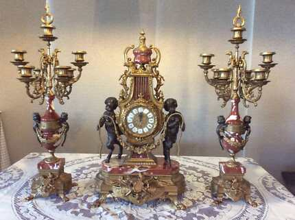 Italian Clock and Candelabras Set of 3- Lancini Marble & Brass