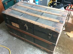 "Antique Steamer Trunk About 38"" x 21"" x 23.5"""