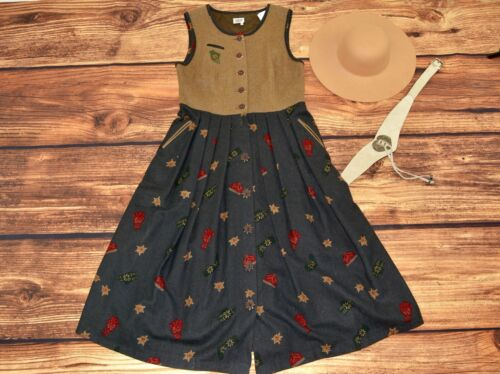 Wool dirndl dress Trachten dress Bavarian Oktoberfest dirndl dress Size M