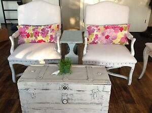 Vintage chalk painted trunk.