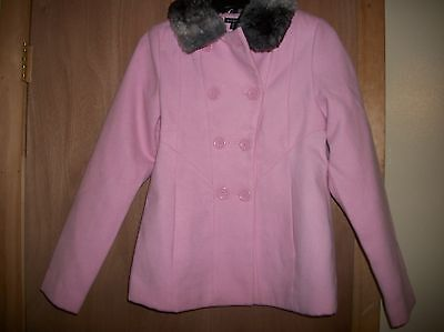 GEORGE LIGHT PINK PEA COAT W/ FUR COLLAR GIRLS JACKET SZ XL 14 16