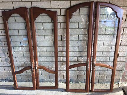 4 Solid teak/glass doors