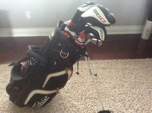 Complete set of Titleist golf clubs including bag
