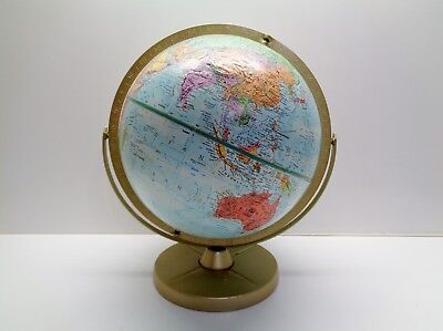 Vintage REPLOGLE WORLD NATION SERIES RAISED TOPOGRAPHY Globe on Metal Stand #2