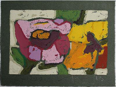 Klaus Fussmann spitzen Farblinolschnitt, Blumen, sehr ausdrucksstark