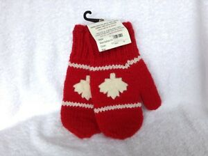 "Hand Knitted 100% Wool ""Canada"" Mittens, medium one size"