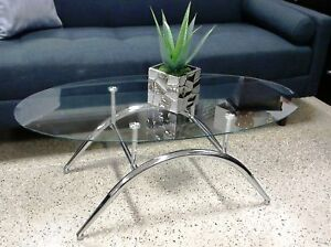 OVAL GLASS TOP COFFEE TABLE FOR JUST $110