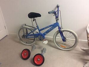 Blue bike with specialized training wheels, for bigger kids, Nambour Maroochydore Area Preview