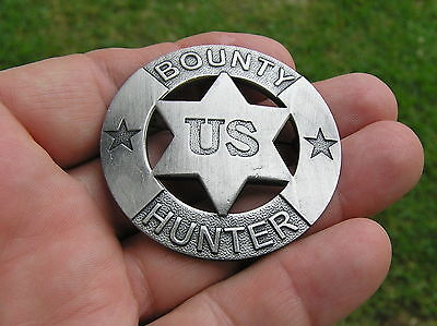 Quality Costumes Australia (OLD WEST - BOUNTY HUNTER BADGE - HIGH QUALITY Antique Silver - Marshal)