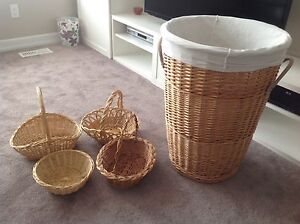 XL laundry basket with removable liner & 4 small baskets