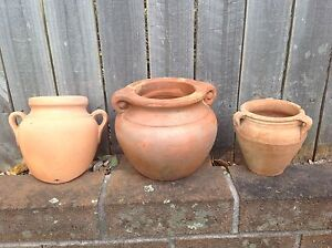 3 Terracotta urn garden plant pots - includes wall pot Northwood Lane Cove Area Preview