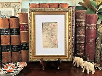 Framed Original 1886 Antique Map FLORIDA Jacksonville Tallahassee Pensacola