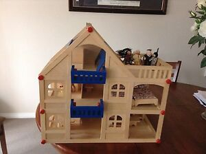WOODEN DOLLS HOUSE COMPLETE WITH WOODEN FURNITURE Belrose Warringah Area Preview